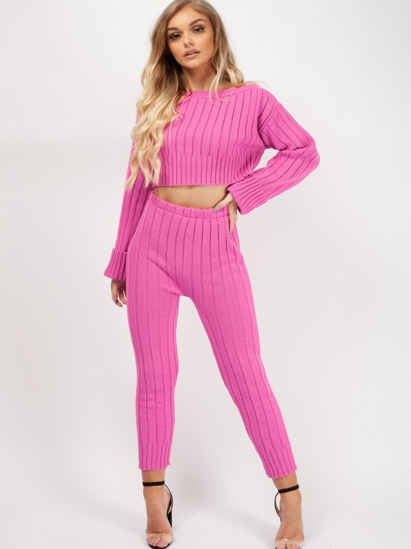 Ribbed Knitted Crop Top & Bottom Loungewear