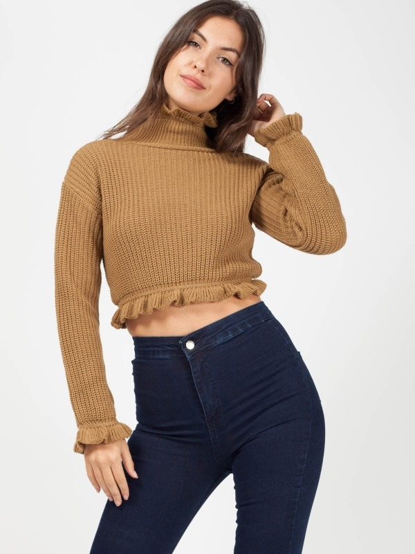 Ruffle Detail Cropped Knitted Jumper