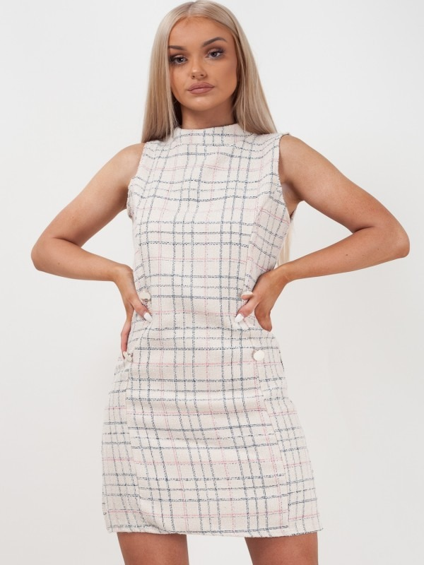 Woven Knit Checked Bodycon Dress