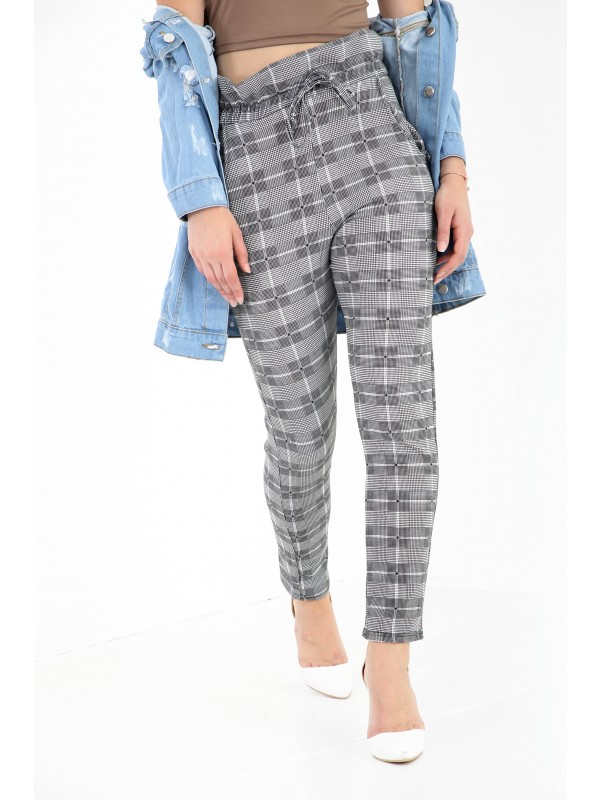 Gingham Check Paper Bag Trousers