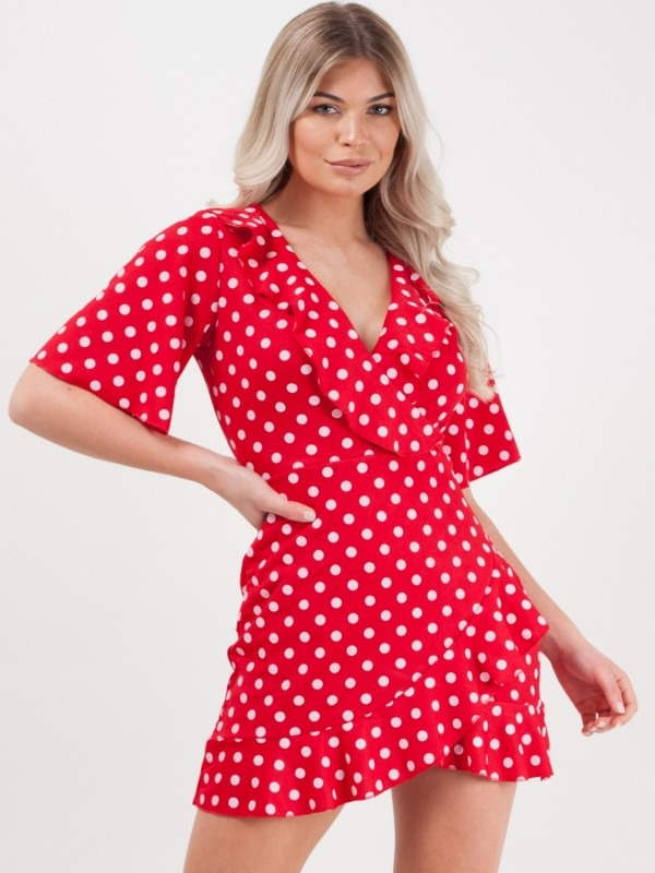 Polka Dot Mini Frill Dress