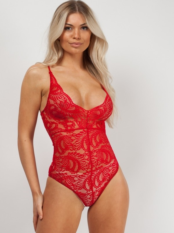 Scallop Lace Cross Back Strappy Bodysuit