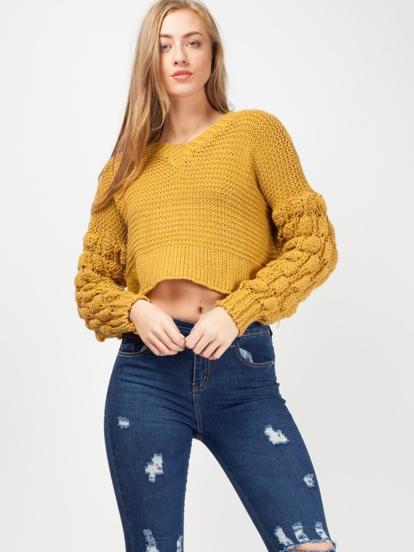 Bobble Sleeve Cropped Knitted Jumper