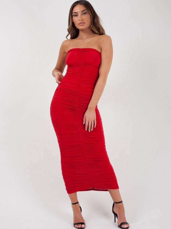 Slinky Ruched Bandeau Maxi Dress