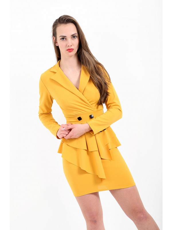 Asymmetrical Front Detail Fitted Blazer Dress