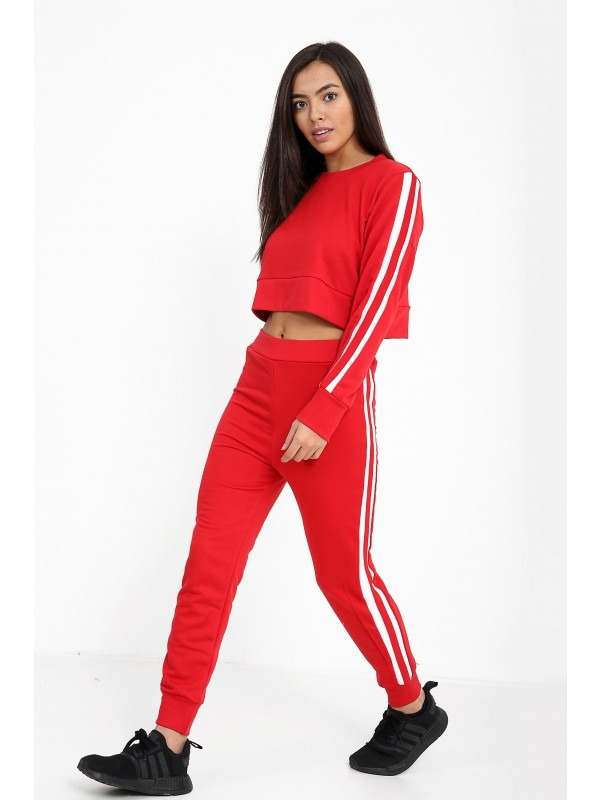 Red And White Stripe Loungewear Set