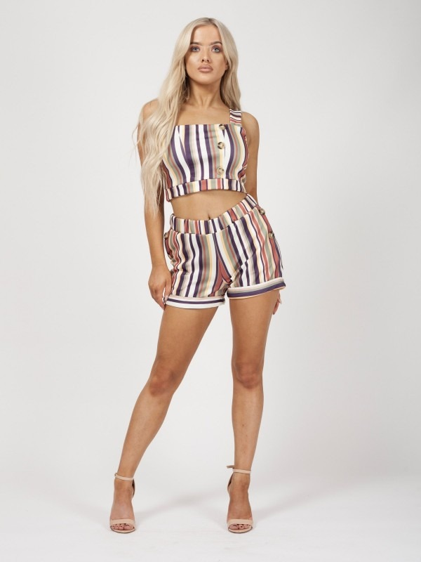 Multi Striped Mock Button Detail Co-ord