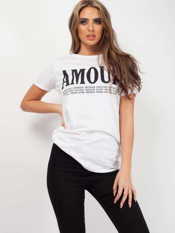 Amour Slogan Printed T-Shirt