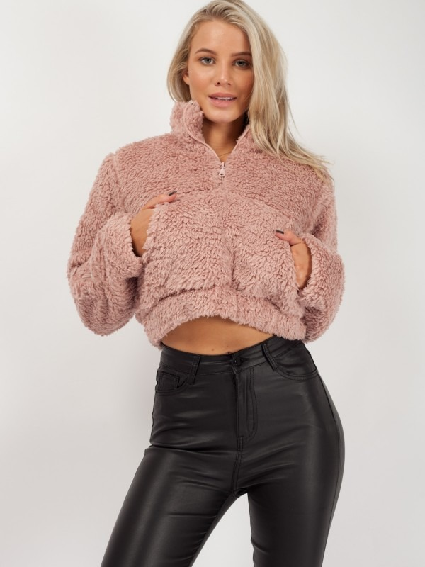 Zip Front Cropped Teddy Jumper