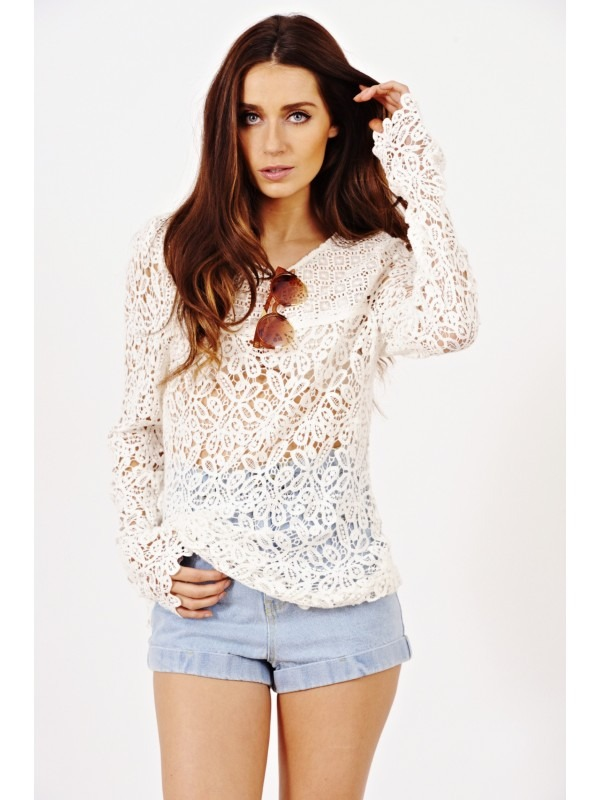 Crochet Knitted Long Top