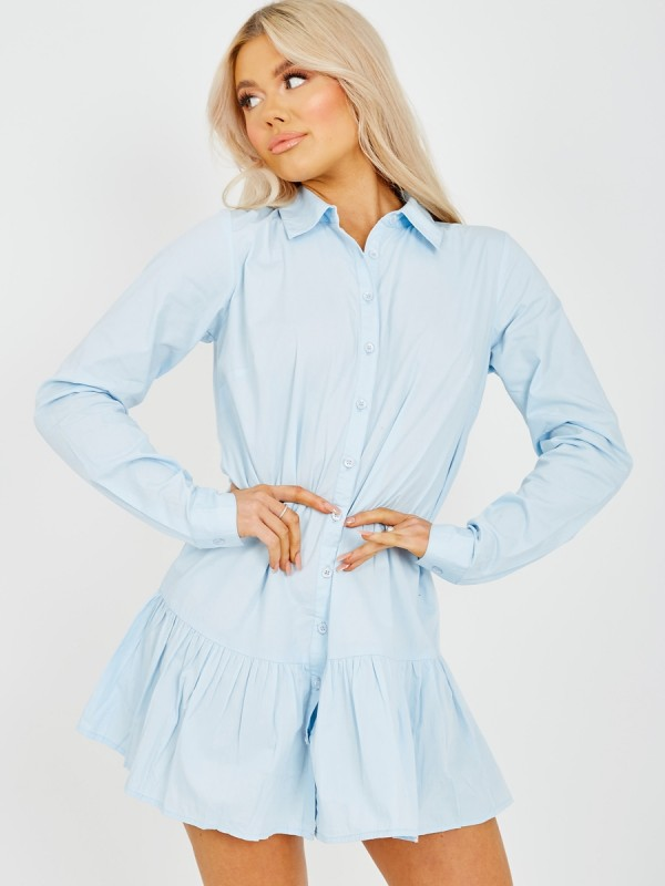 Frill Hem Buttoned Shirt Dress
