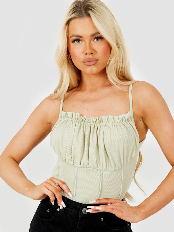 Seam Detail Lettuce Frill Bust Cami Top
