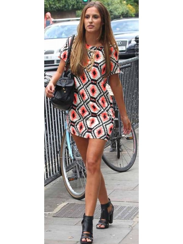 Celebrity Inspired Aztec Print Shift Dress
