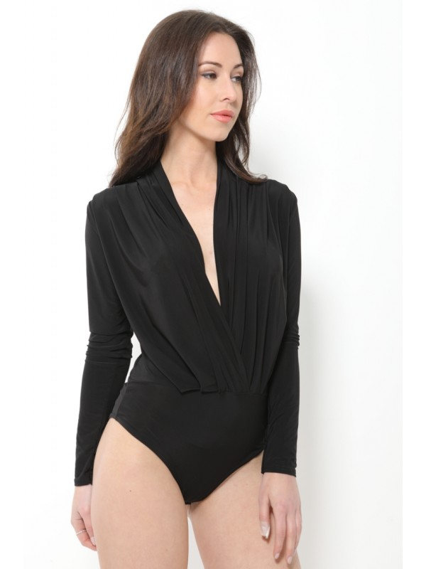 Soft-Touch Wrap Front Bodysuit