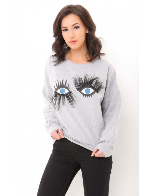 Oversized Printed Jumper With Eyelash Detail