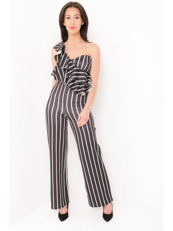 Striped One Shoulder Ruffle Frill Jumpsuit