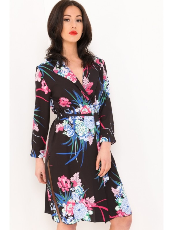 Floral Print Split Side Blazer