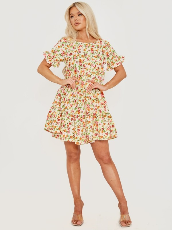 Ditsy Rose Print Frill Tiered Smock Dress