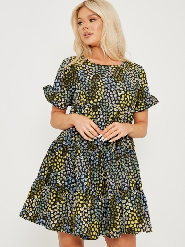 Ditsy Flower Print Frill Tiered Smock Dress