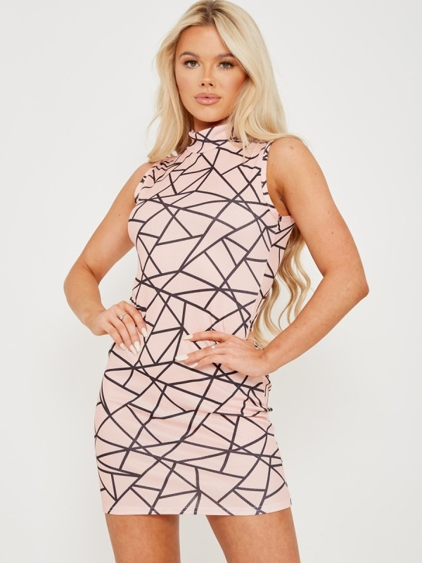 Prism Graphic Ribbed Dress