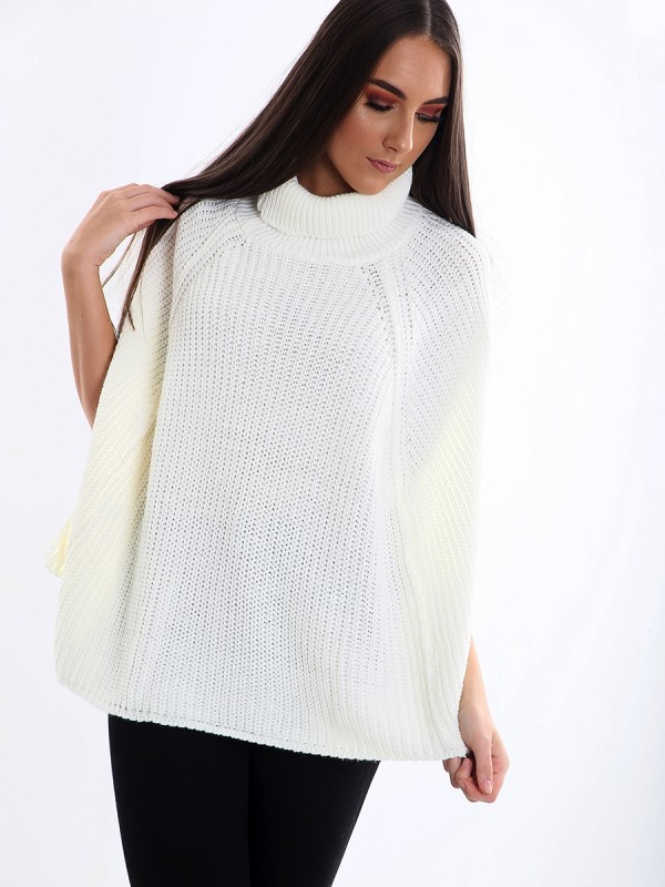 Roll Neck Knitted Poncho