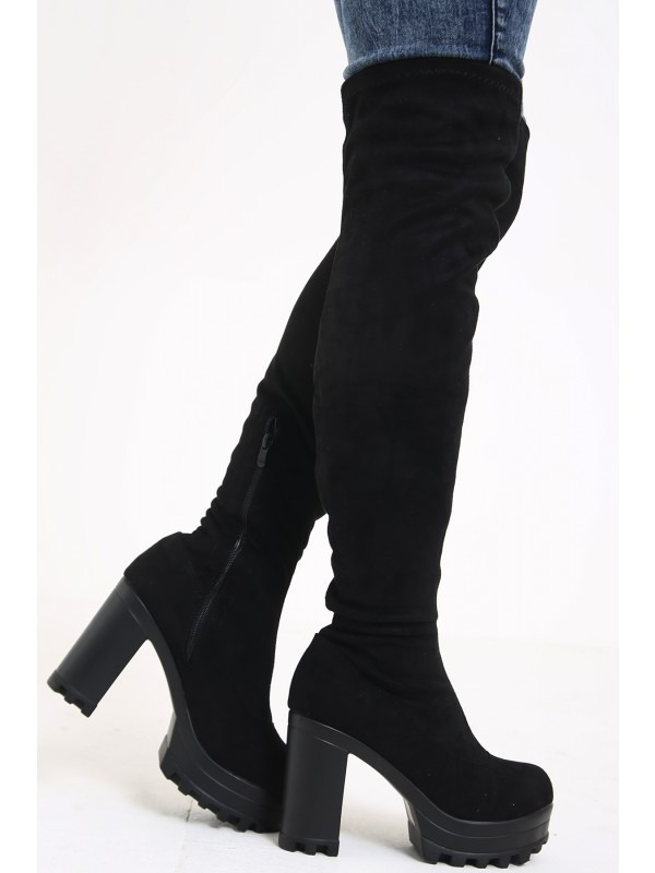 Faux Suede Over-The-Knee High Heeled Boots