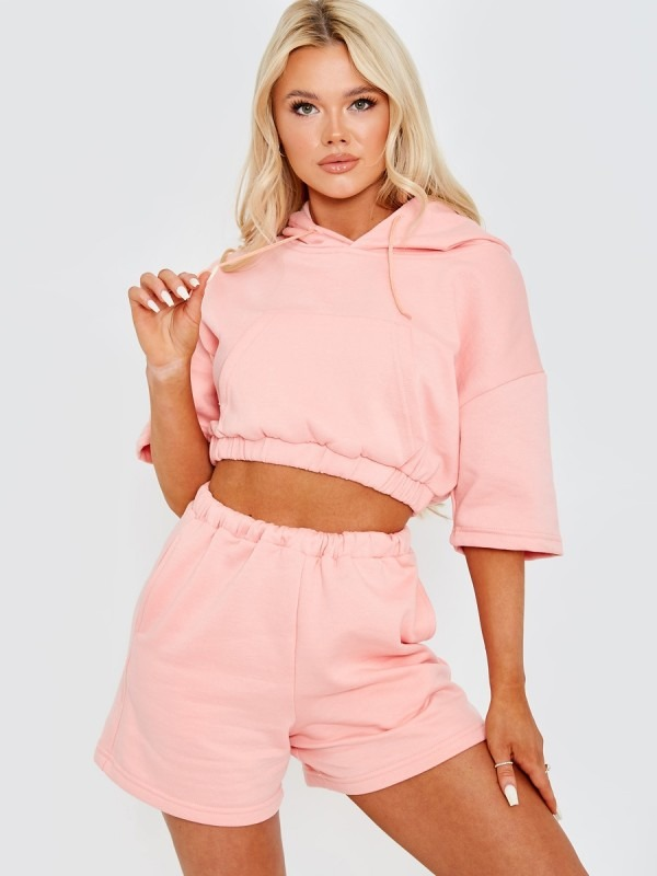 Cropped Hoodie & Shorts Fleece Co-ord
