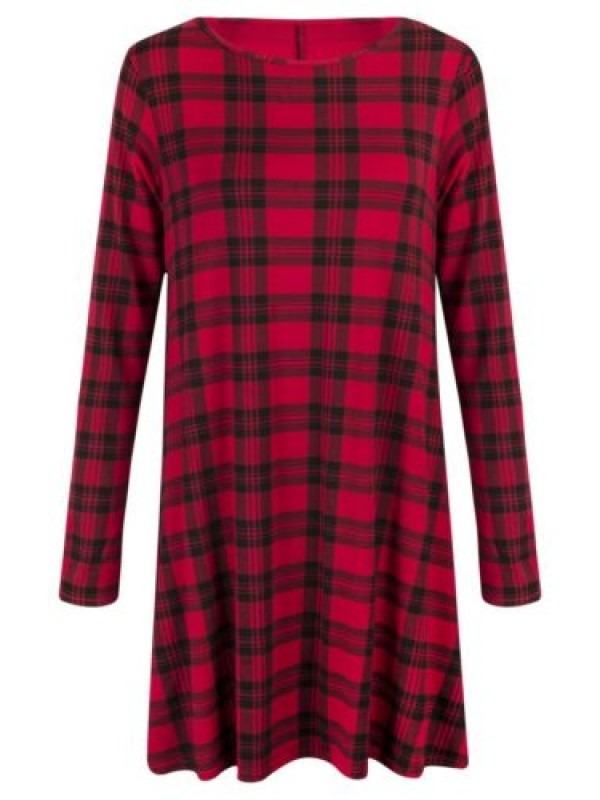 Plus Size Tartan Swing Dress