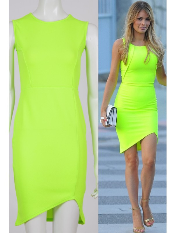 Celebrity Chloe Inspired Neon Crepe Bodycon Dress