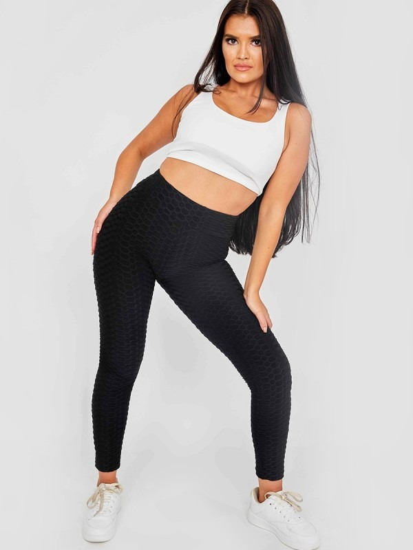 Ruched Texture Detail Active-wear Legging