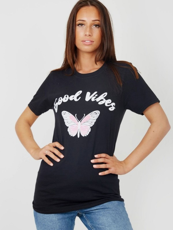 Good Vibes Butterfly Graphic Printed T-Shirt