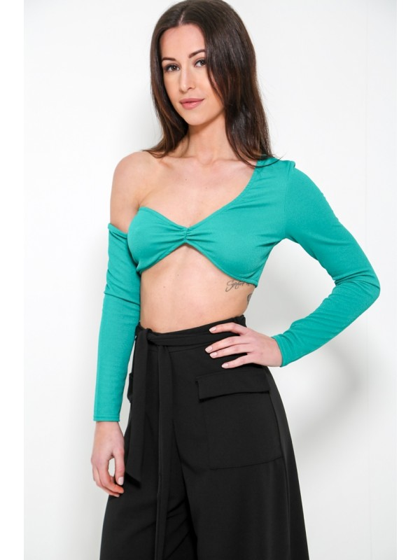 Long Sleeve One Shoulder Crop Top