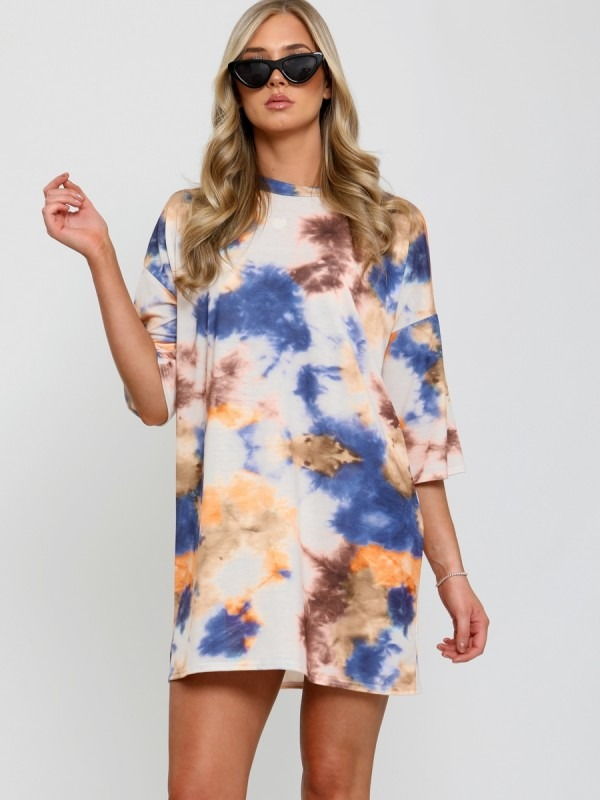 Tie-Dye Splash Oversized Boyfriend Tunic T-Shirt