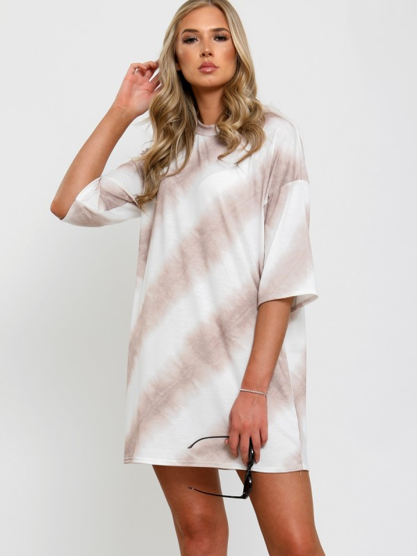 Tie Dye Stripe Oversized Boyfriend Tunic T-Shirt