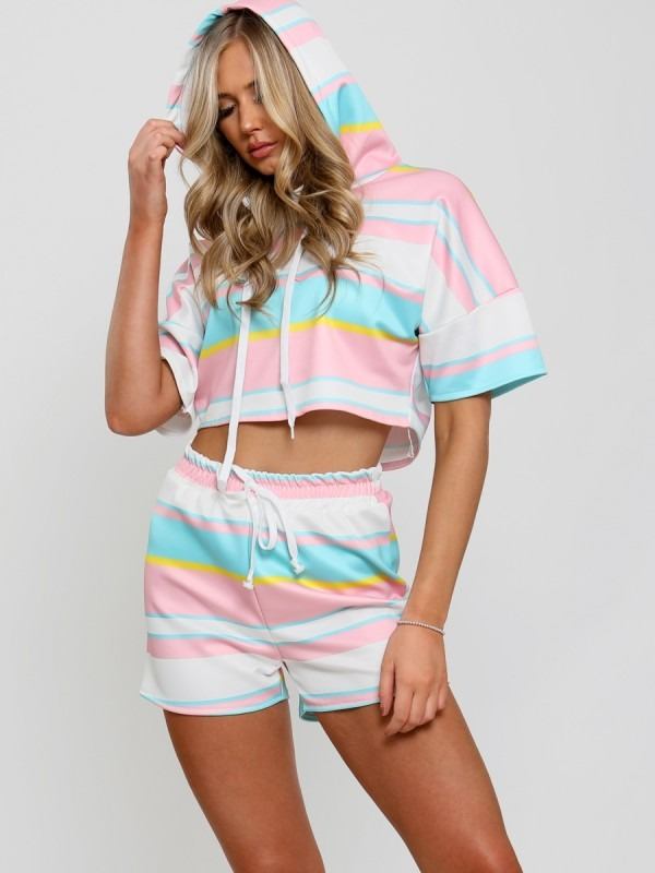 Striped Hoodie Crop Top & Shorts Co-ord