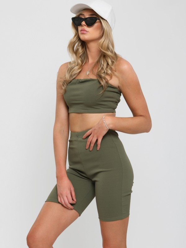 Bandeau Crop Top & Cycling Shorts Co-ord
