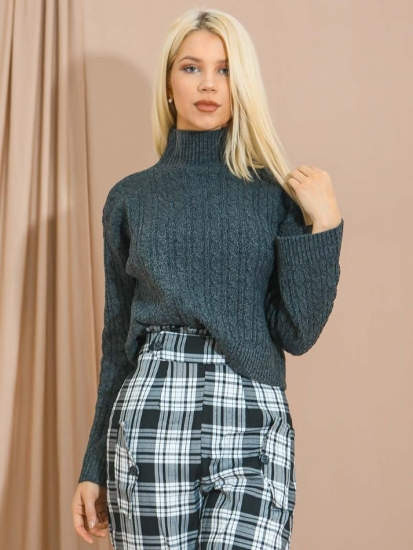 High Neck Cable Knit Top