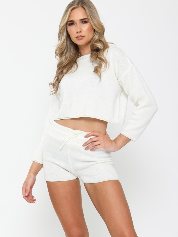 Knitted Crop Top & Shorts Lounge Set
