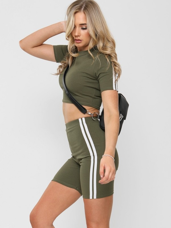 Side Stripe Crop Top & Shorts Co-ord