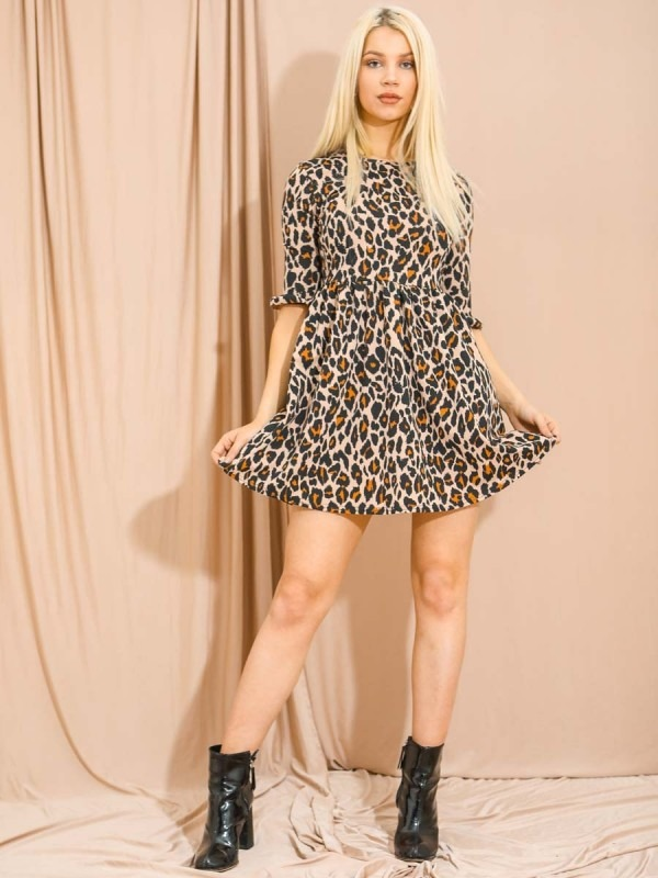 Leopard Print Frill Detail Smock Dress