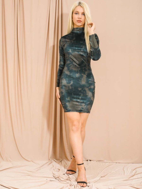 Tie Dye Velour Bodycon Dress