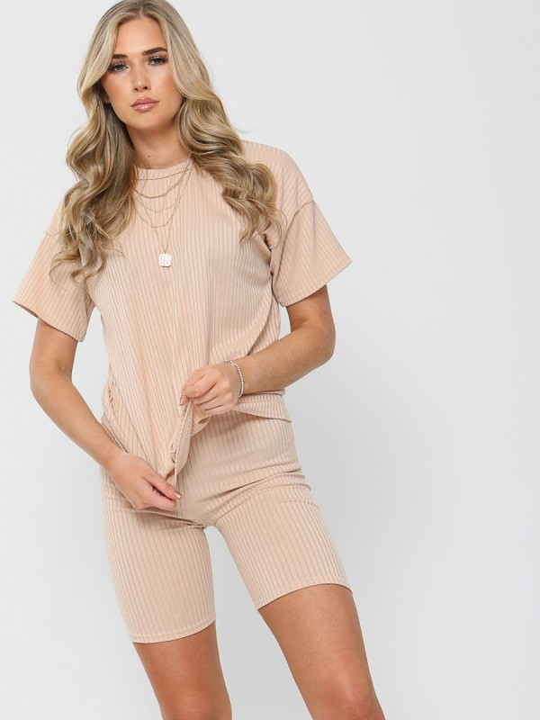 Ribbed Oversized T-Shirt & Shorts Co-ord