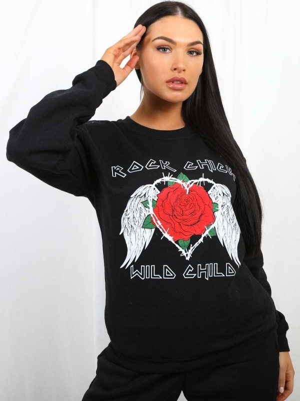 Rock Chic Graphic Sweatshirt Jumper