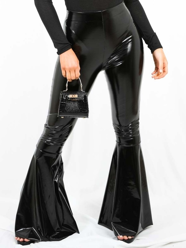 Bell Bottom Vinyl PU Trouser