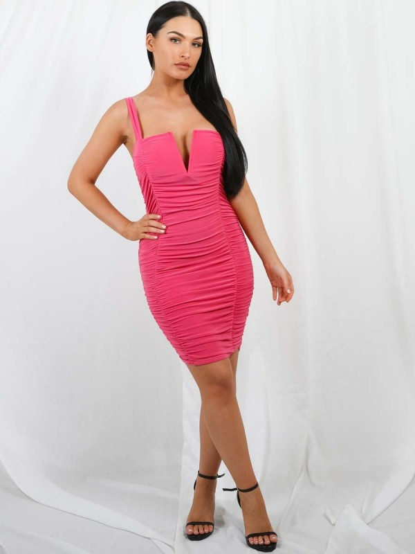V-Bar Slinky Ruched Dress