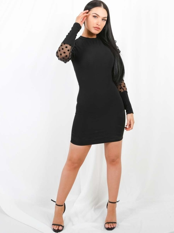Polka Puff Organza Sleeve Bodycon Dress
