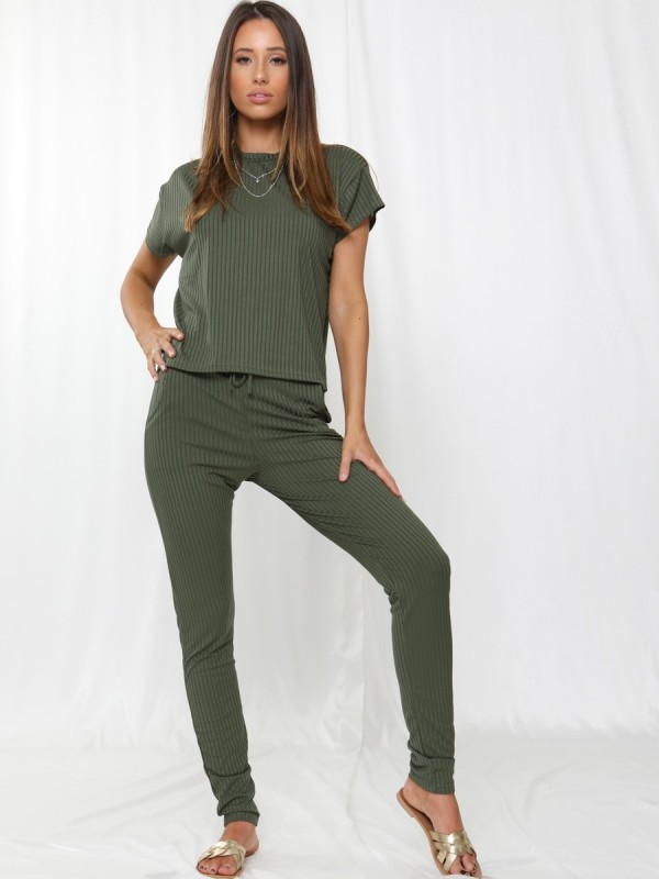 Ribbed Short Sleeve Boxy Loungewear Co-ord