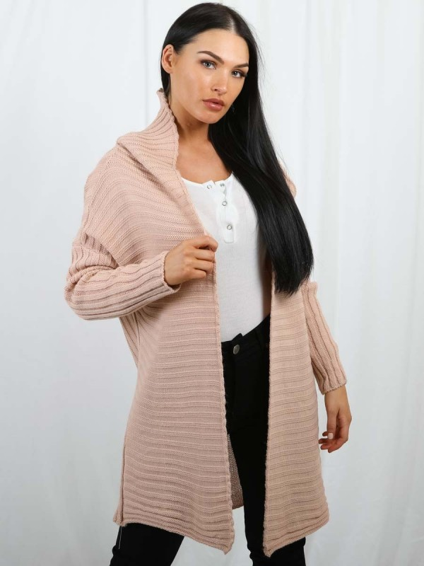 Pom Pom Hood Ribbed Knitted Cardigan