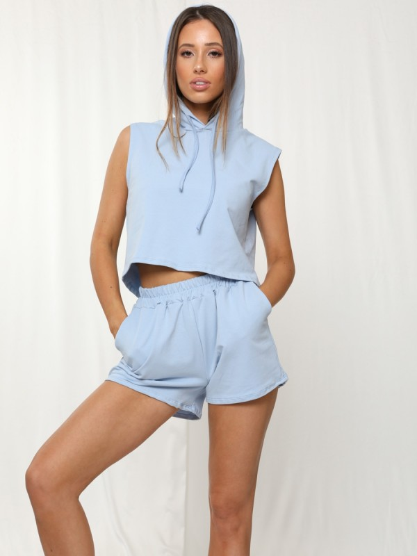Boxy Hooded Crop Top & Shorts Loungewear Co-ord