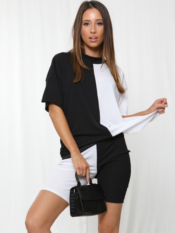 50/50 Ribbed Oversized T-Shirt & Shorts Co-ord